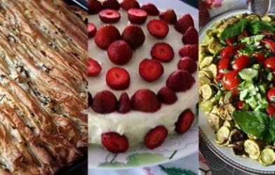 Pileli Börek Çilekli Pasta Kabak Kızartmalı Domates Salatası Tarifi
